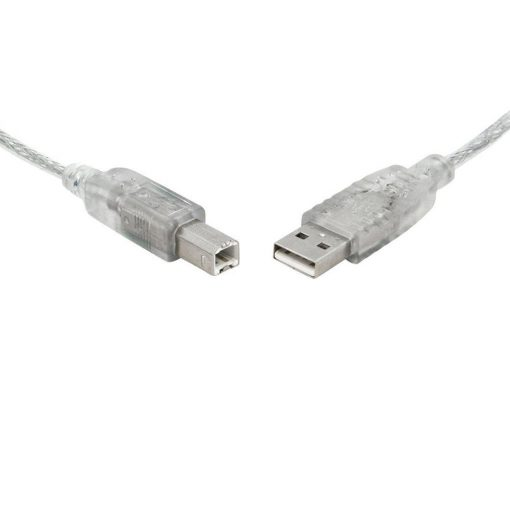 UC-2001AB-8Ware USB 2.0 Cable 1m A to B Transparent Metal Sheath UL Approved