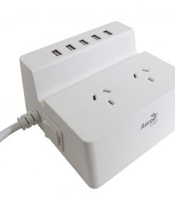 ACAC-SS2A25A-21-Aerocool ASA SS2A25A Charging Station w/2 AC Outlet Surge Protector/5 USB Port Fast Charger