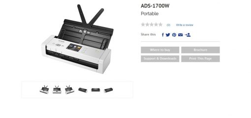 ADS-1700W-Brother ADS-1700W *NEW* COMPACT DOCUMENT SCANNER with Touchscreen LCD display & WiFi (25ppm) One Year Warranty