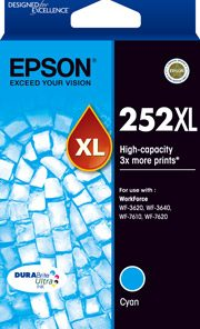 C13T253292-Epson 252XL Cyan Ink Cartridge Suits WF3620/3640/7610/7620