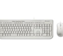 APB-00022-Microsoft Wired Desktop 600 White USB White Mouse & Keyboard Retail Pack