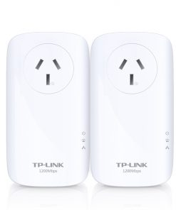 TL-PA8010PKIT-TP-Link TL-PA8010PKIT AV1200 Gigabit Passthrough Powerline Starter Kit 1200Mbps HomePlug AV2 1x1Gbps LAN Power Socket Line-Neutral/Line-Ground 2×2MIMO