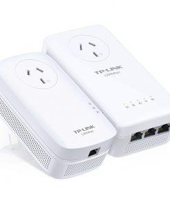 TL-WPA8630PKIT-TP-Link TL-WPA8630P-KIT AV1200 1200Mbps Wi-Fi Passthrough Range Extender Powerline 3x1Gbps LAN 300m Range HomePlug AV2 2X2 MIMO Wi-Fi Clone Button