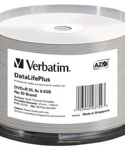 43754-Verbatim DVD+RDL 8.5GB 50PK Wide Thermal Print 8X