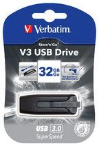 49173-Verbatim 32GB V3 USB3.0 Grey Store'n'Go V3; Retractable