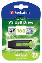 49177-Verbatim 16GB V3 USB3.0 Green Store'n'Go V3; Rectractable