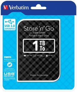 "53194-Verbatim 1TB 2.5"" USB 3.0 Black Store'n'Go HDD Grid Design"