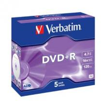 95049-Verbatim DVD+R 16X Jewel 5pk 4.7GB
