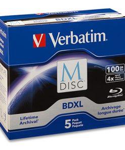 98913-Verbatim M DISC BDXL 100GB 4X with Branded Surface – 5pk Jewel Case Box