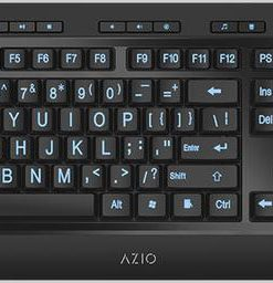 KB505U-AZIO KB505U Vision Large Print Tri-Color Illuminating Ergonomic Wired USB Keyboard - Multimedia/Backlight Red/Purple/Blue/Windows Support