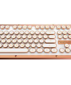 MK-Retro-L-02B-US-AZIO RETRO CLASSIC BT Vintage Typewriter Bluetooth & USB Backlit Mechanical Keyboard - Alloy Leather Trim POSH