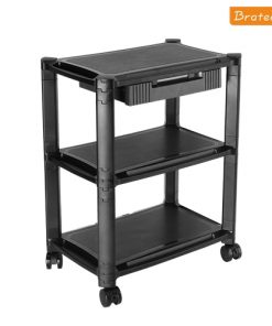 BT-AMS-5L-Brateck Height-Adjustable Modular Multi Purpose Smart Cart XL with Three-Tier and Drawer  13''-32'' Monitors Weight Capacity 10kg per layer
