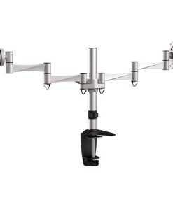 BT-LDT02-C024-Brateck  Dual Monitor Elegant Aluminium w/Arm&Desk Clamp Silver VESA75/100mm Up to27""