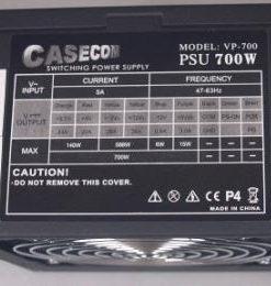 ATX700W-Casecom 700W ATX PSU 120mm FAN 2 ATX PSU Years Warranty