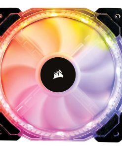 CO-9050068-WW-Corsair HD 140mm PWM RGB LED Fan. 12 independent RGB LEDs. High static pressure tuned for optimal air delivery.