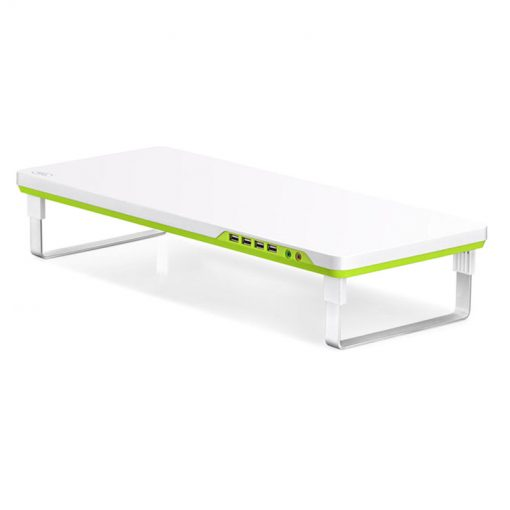 "M-DESK F1-Deepcool M-Desk F1 Ergonomic Monitor Stand Up To 27"" & 10kg W/ Audio & 4x USB"