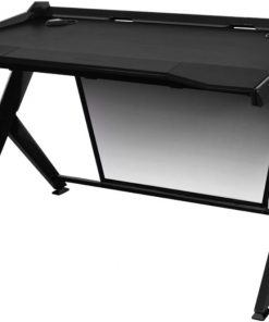 GD/1000/N-DXRacer 1000 Series Gaming Desk Black - 10 Degree Slope/Extended Work Surface/Stable Structure/Wire Management Openings/Raised Perimeter/Gaming/Office