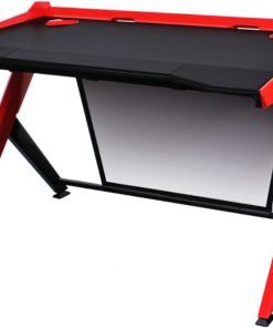 GD/1000/NR-DXRacer 1000 Series Gaming Desk Black & Red - 10 Degree Slope/Extended Work Surface/Stable Structure/Wire Management Openings/Raised Perimeter/Gaming/