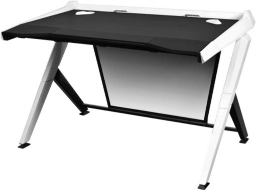 GD/1000/NW-DXRacer 1000 Series Gaming Desk Black & White - 10 Degree Slope/Extended Work Surface/Stable Structure/Wire Management Openings/Raised Perimeter/Gamin