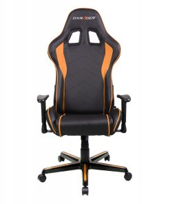 OH/FL08/NO-DXRacer Formula FL08 Gaming Chair Black & Orange - Sparco Style Neck/Lumbar Support/NB Gaming/Office/Ergonomic Desk Chair/Black PU Leather