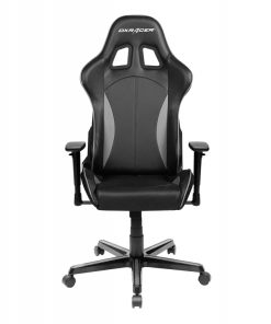 OH/FL57/NG-DXRacer Formula FL57 Gaming Chair Black & Carbon Grey - Sparco Style Neck/Lumbar Support/NB Gaming/Office/Ergonomic Desk Chair/Black PU Leather