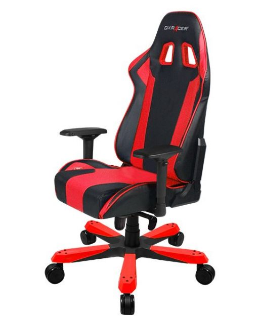 OH/KS06/NR-DXRacer King KS06 Gaming Chair Black & Red - Neck/Lumbar Support/PU Leather/Large Size Seat/Office/Gaming Ergonomic/Head and Lumbar Support Pillows