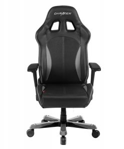OH/KS57/NG-DXRacer King KS57 Gaming Chair Black & Carbon Grey - Neck/Lumbar Support/PU Leather/Office/Gaming Ergonomic Chair