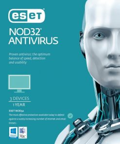 AV-ES-NODR3D1Y-ESET NOD32 Antivirus 3 Devices 1 Year Retail Download Card