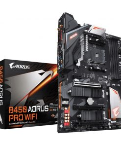GA-B450-AORUS-PRO-WIFI-Gigabyte B450 AORUS PRO WIFI Ryzen AM4 ATX Motherboard 4xDDR4 4xPCIE 2xM.2 DVI HDMI RAID Intel GbE LAN 6xSATA 1xUSB-C 7xUSB3.1 RGB Bluetooth