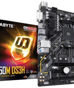 GA-B450M-DS3H-Gigabyte B450M DS3H Ryzen AM4 mATX Motherboard 4xDDR4 3xPCIE 1xM.2 DVI HDMI RAID GbE LAN 4xSATA 2xUSB3.1 8xUSB2.0 CF RGB ~MBG-AX370M-DS3H