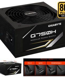 GP-G750H-Gigabyte G750H 750W ATX PSU Power Supply 80+ Gold >90% 140mm Fan Modular Black Flat Cables Single +12V Rail Japanese Capacitors >100K Hrs MTBF ~800W L