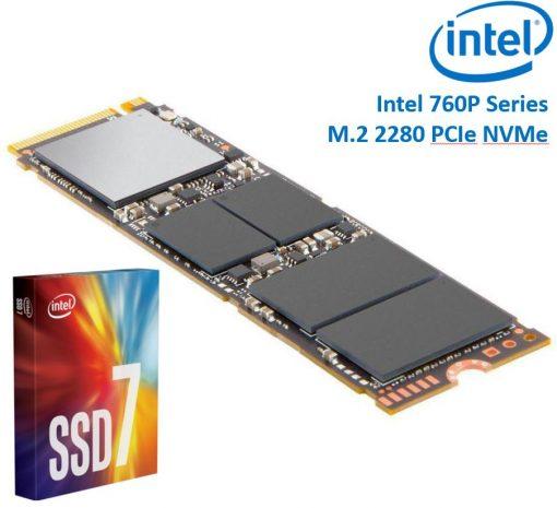 SSDPEKKW020T8X1-Intel 760P Series M.2 80mm 2000GB 2TB SSD 3D2 TLC PCIe NVMe 3230/1625MB/s 340K/275K IOPS 1.6 Million Hours MTBF Solid State Drive 5yrs Wty
