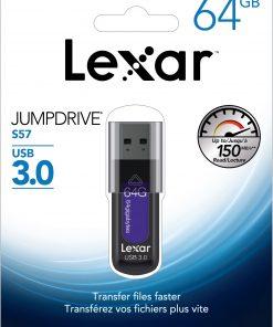 LJDS57-64GABAP-Lexar JumpDrive S57 64GB USB3 Flash Drive - Upto 150MB/s