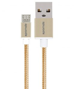 LINKMATE-U2M.GOLD-Promate 'linkMate-U2M' Ultra-Durable Mesh Braided Micro-USB Sync & Charge Cable