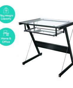 ACA-CDK-2K-mbeat® actiVIVA Brea Modern Computer Desk - Tempered Glass Table/ Includes Glass Sliding Keyboard Tray/Durable Steel Frames/Adjustable Floor Protector