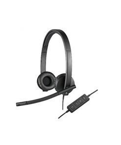 981-000574-Logitech H570E Stereo Headset Light Weight Adjustable Headphone with Microphone USB In-line audio controls Noise-cancelling