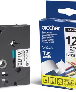 TZE231-Brother 12mm Blk on White Tape - Laminated Tape