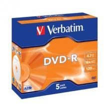 95070-Verbatim DVD-R 4.7GB 5Pk Jewel Case 16x