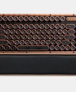 MK-RCK-L-03-US-AZIO RETRO CLASSIC COMPACT Vintage Typewriter Bluetooth & USB Backlit Mechanical Keyboard - Alloy Leather Trim ARTISAN - USB-C Charge/Dual USB+BT