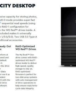WDBFBE0120JBK-AESN-WD My Book Duo 12TB Desktop RAID External Hard Drive USB 3.1 Gen2 - Black Hardware Encryption. 3 Years Warranty