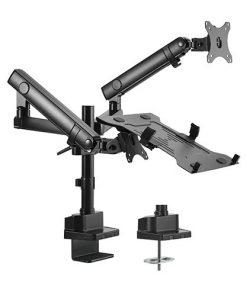 LDT20-C024PML-Brateck Aluminum Pole mount Mechanical spring monitor with Laptop holder