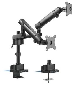 LDT20-C024UP-Brateck  Dual Monitor Aluminum Slim Pole Held Mechanincal Spring Monitor Arm