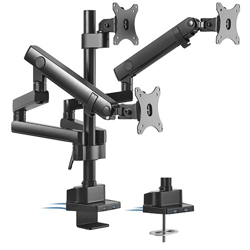 LDT20-C036UP-Brateck Triple Monitor Aluminum Slim Pole Held Mechanical Spring Monitor Arm