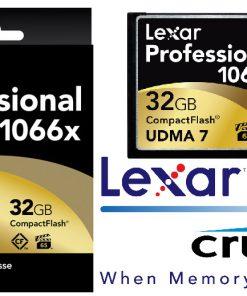 LCF32GCRBANZ1066-Lexar 1066x 32GB Compact Flash CF Card Upto 160MB/s VPG-65 Standard (LS)