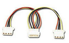 "113010-Connectland 4 Pin Power Molex Splitter Adapter 18cm Cable 1x 5.25"" Male to 2x 5.25"" Female HDD"