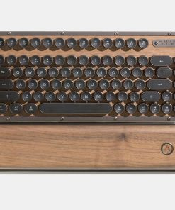 MK-RCK-W-01-US-AZIO RETRO CLASSIC COMPACT Vintage Typewriter Bluetooth & USB Backlit Mechanical Keyboard - Alloy Wood Trim ELWOOD - USB-C Charge/Windows Supported