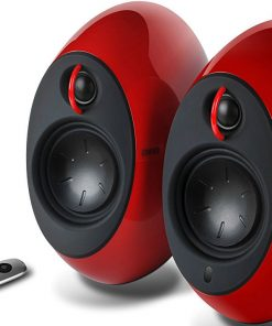 E25HD-RED-Edifier E25HD LUNA HD Bluetooth Speakers Red - BT 4.0/3.5mm AUX/Optical DSP/ 74W Speakers/ Curved design/Dual 2x3 Passive Bass/Wireless Remote