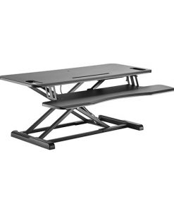 DWS28-02N-Brateck Gas Spring Sit-Stand Desk Converter with Keyboard Tray Deck(Standard MDF Board Surface)